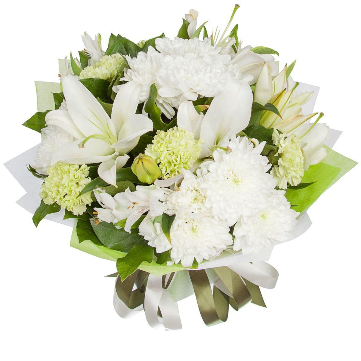 Цветной букет из лилии и хризантемы